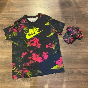NIKE MEN'S NSW FUTURA FLORAL TEE WITH HAT